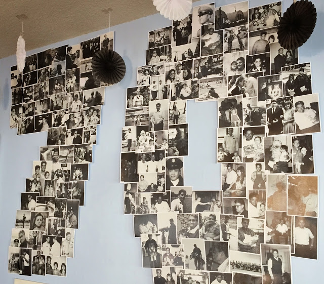 Here You See One Of The Primary Decor Pieces From Party I Collected Photos Throughout His Life And Printed Them All In Black White Even