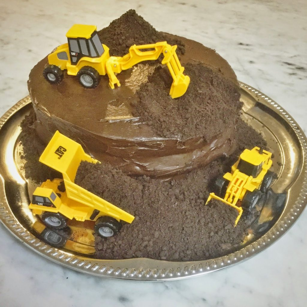 chocolate construction birthday party cake