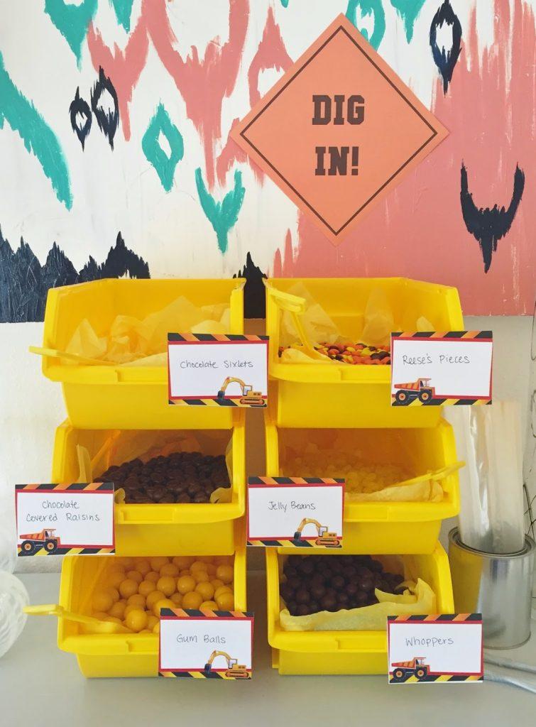 construction birthday party dessert idea: candy buffet