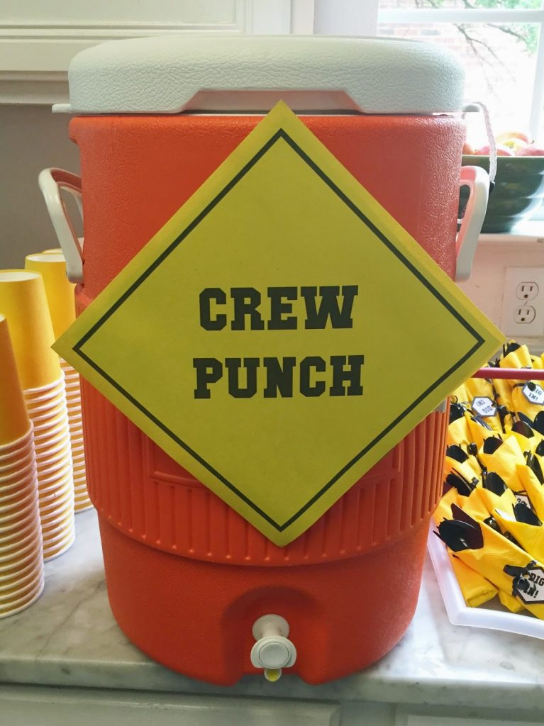 crew punch served in a large gatorade style jug for a construction themed party
