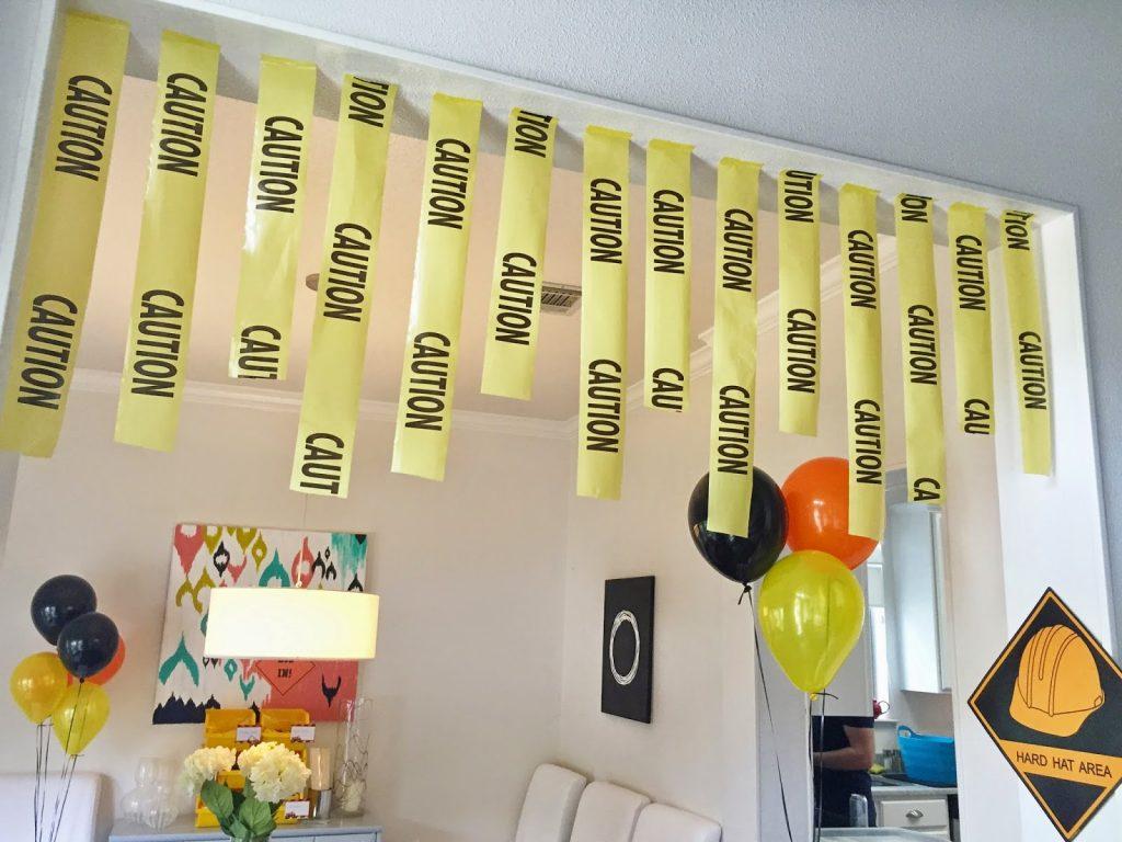 construction party decor idea: use caution tape
