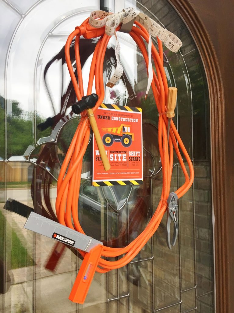 Extension cord and plastic tool wreath