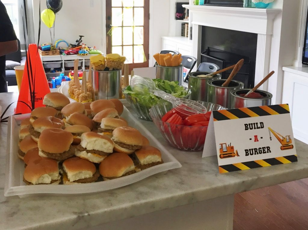 Build-a-Burger bar for a construction birthday party