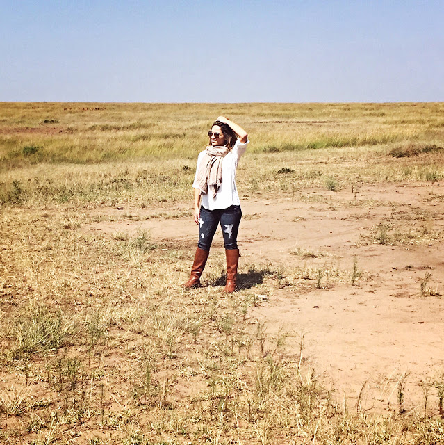 safari fashion: women's layered safari outfit