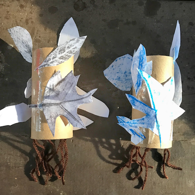 easy kid's camping idea: leaf rubbing craft