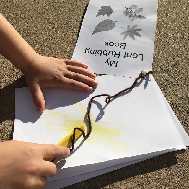 easy kid's camping craft idea: leaf rubbing tree