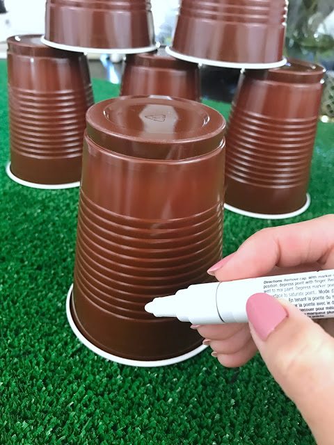 how to make football cups for an easy football party decor idea