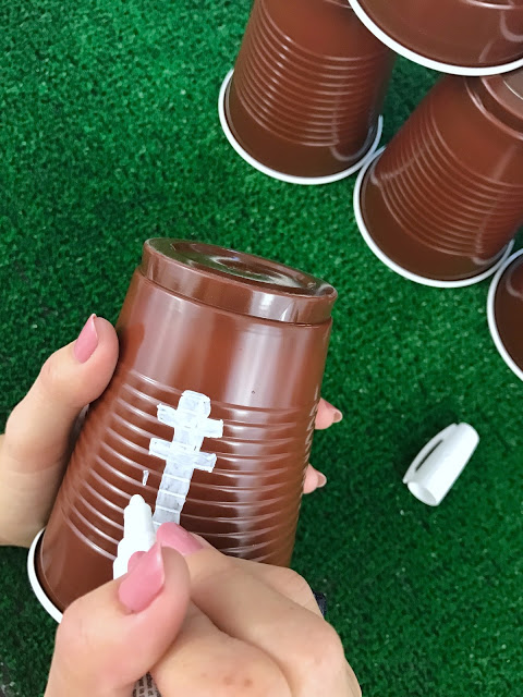 easy diy football cups for a football party decoration