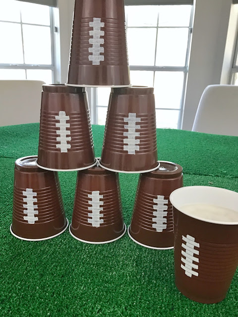 diy football cups - easy football party decoration