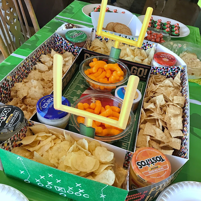 football stadium snack display - easy decoration idea for a football party