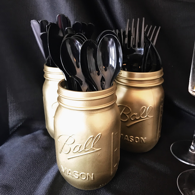 gold spray painted mason jars - diy party decor idea for a hollywood theme party