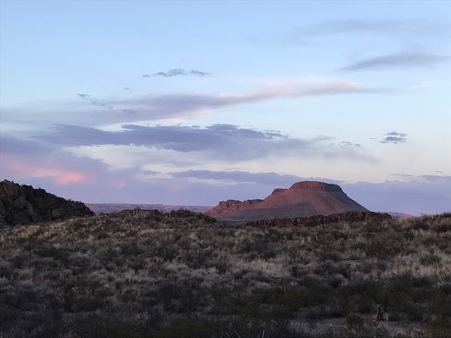 Sunset view in Big Bend Ranch State Park on our Southwest road trip