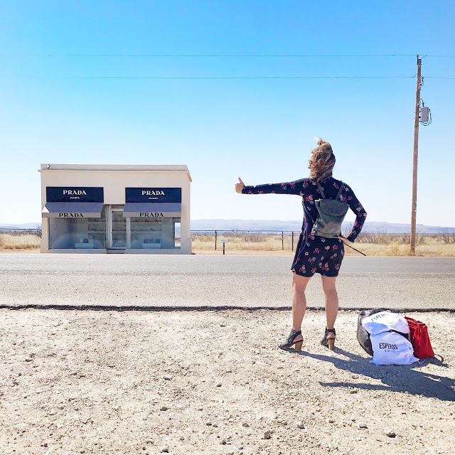 Southwest road trip itinerary - photo opp at the Prada Marfa art installation in west Texas