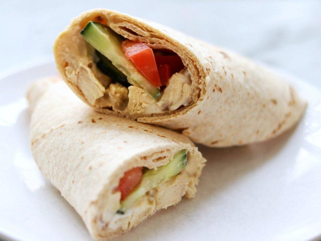 easy picnic recipe idea: chicken hummus wraps