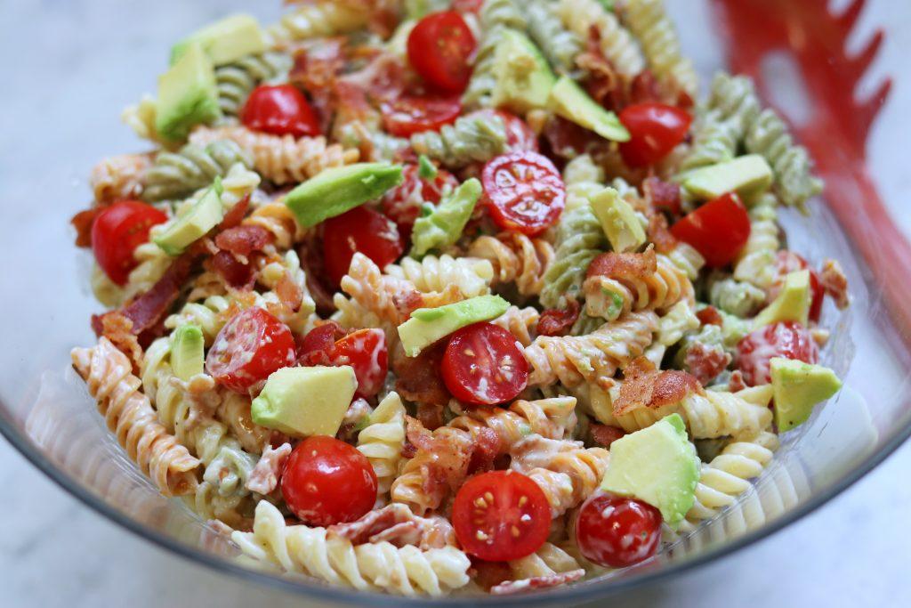 list of picnic food ideas: Creamy Bacon Avocado Pasta Salad