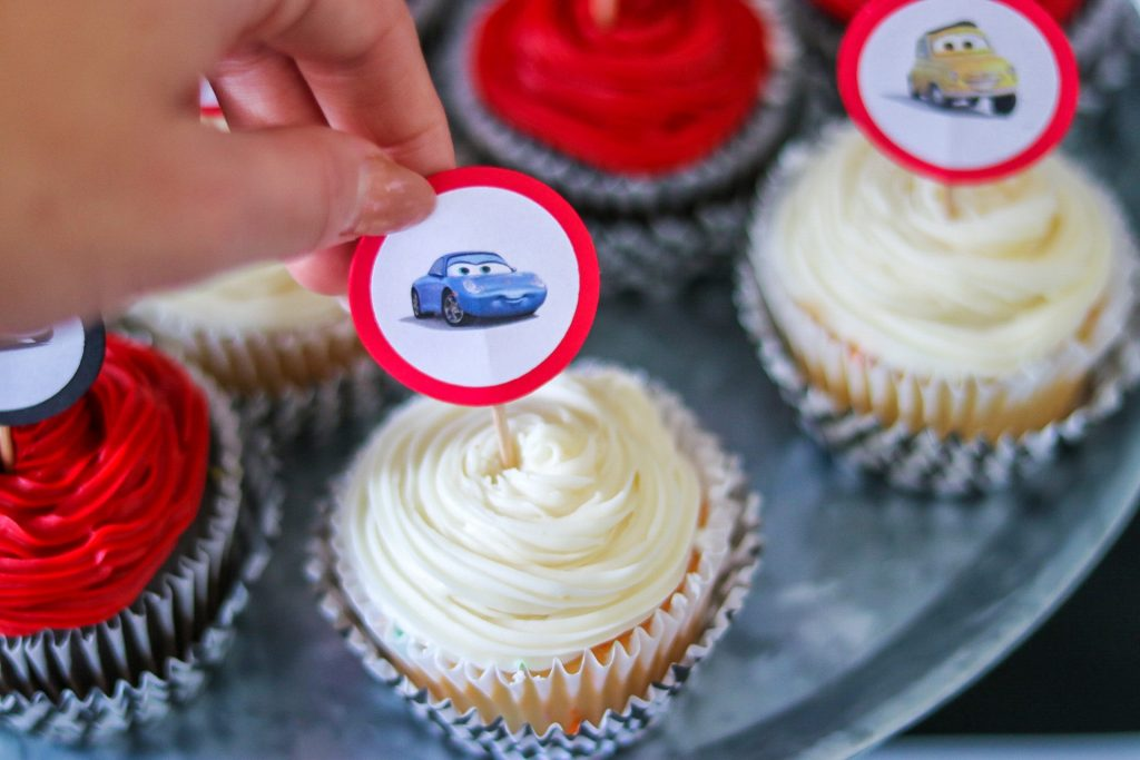 DIY car themed birthday cupcake toppers