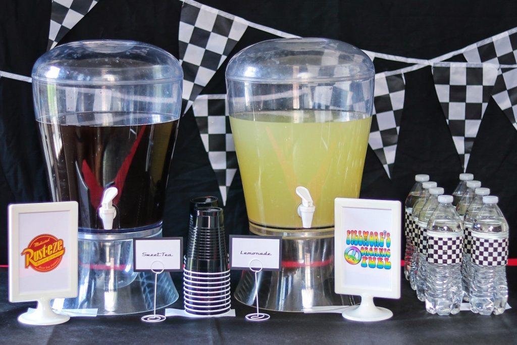 car themed birthday drinks