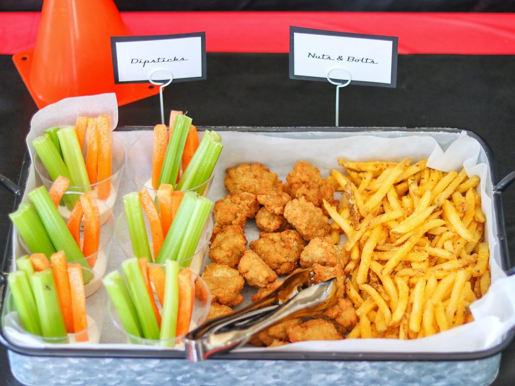 Disney Cars party food ideas: Dipsticks, Nuts & Bolts
