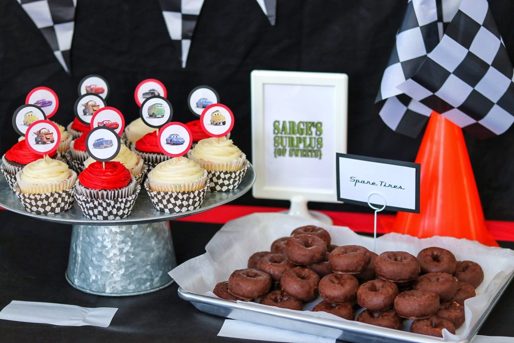 Disney Cars food: Sarge's Surplus of Sweets (cupcakes and Spare Tires)