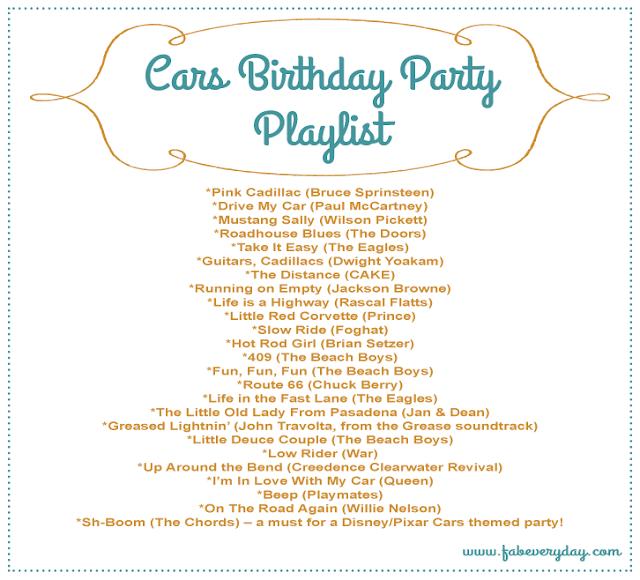 car themed birthday party playlist