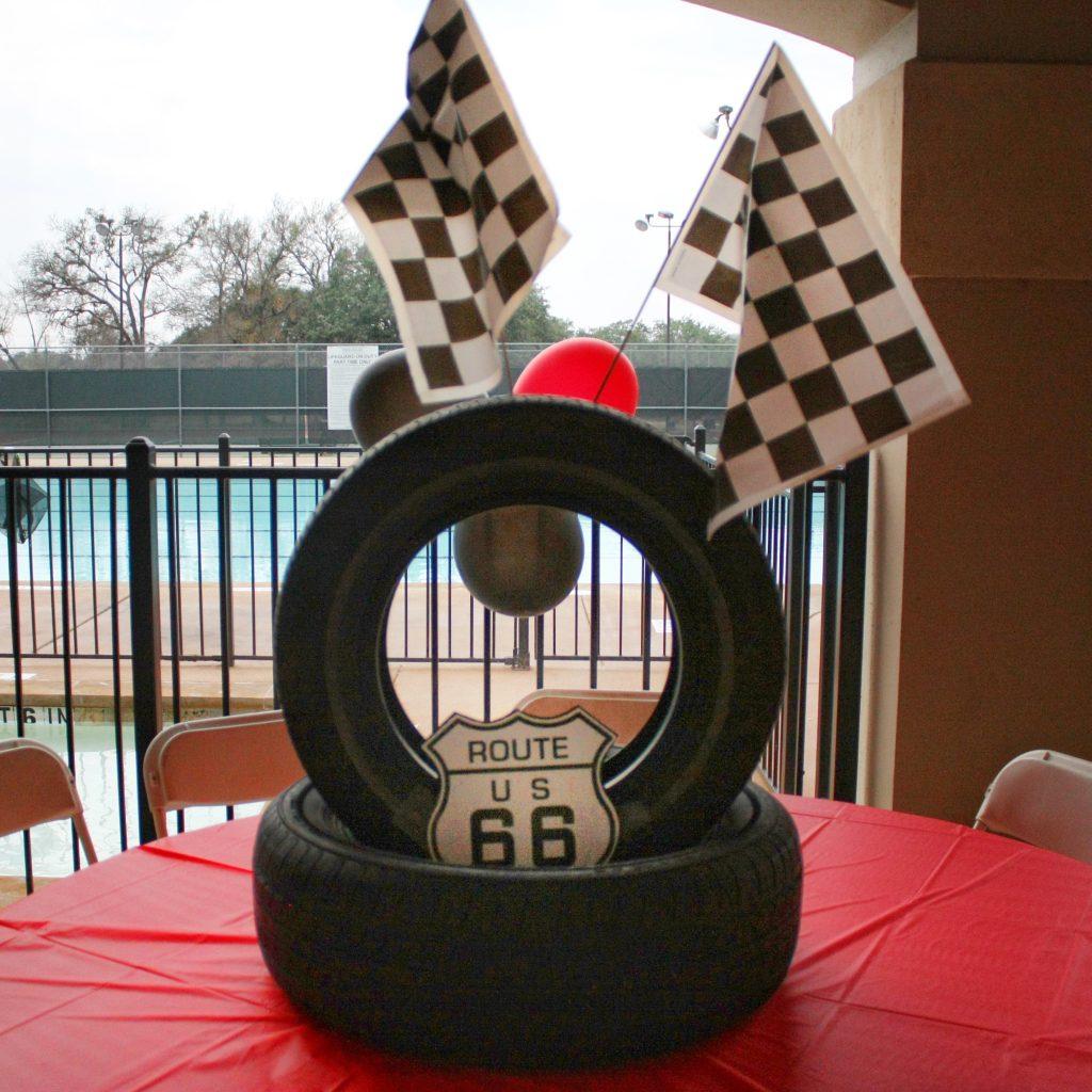 Disney Cars birthday supplies - tire centerpiece