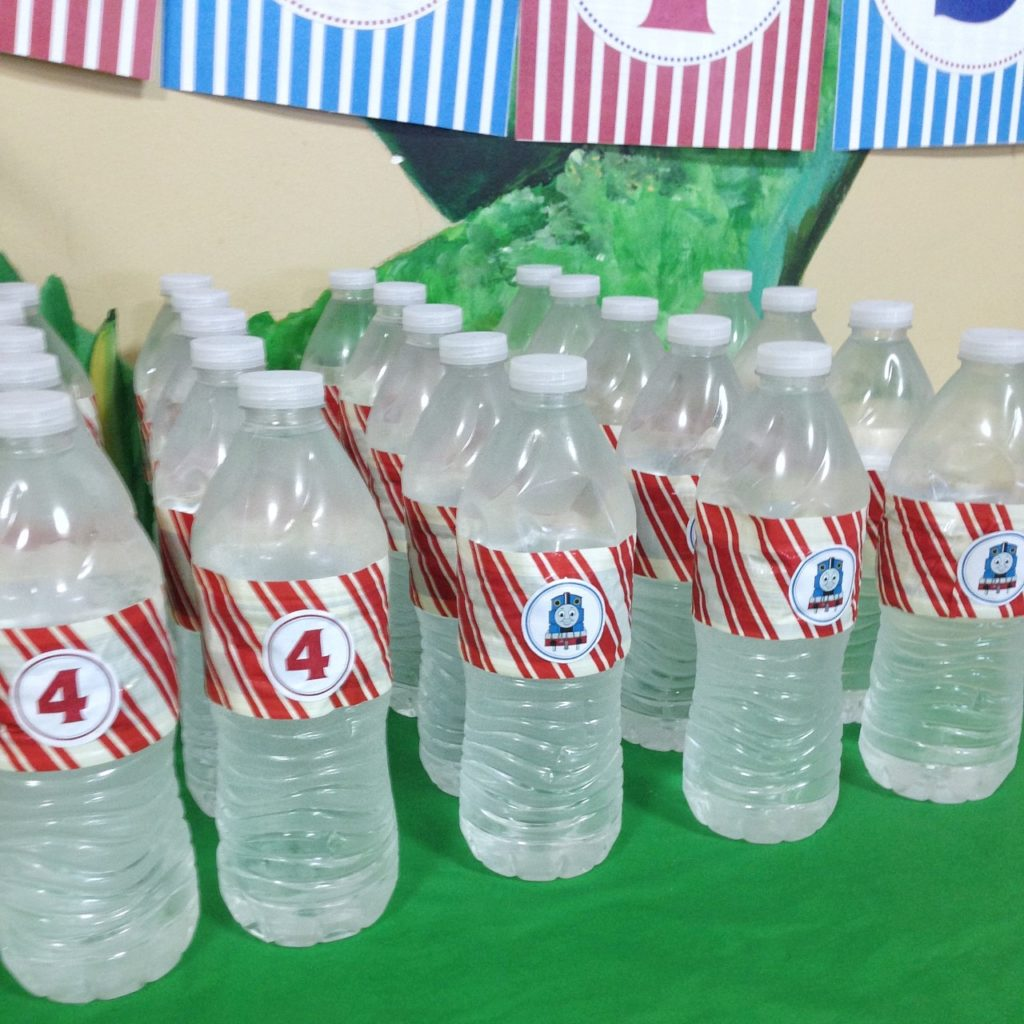 Thomas and Friends Party Food Idea (Wrapped Water Bottles)