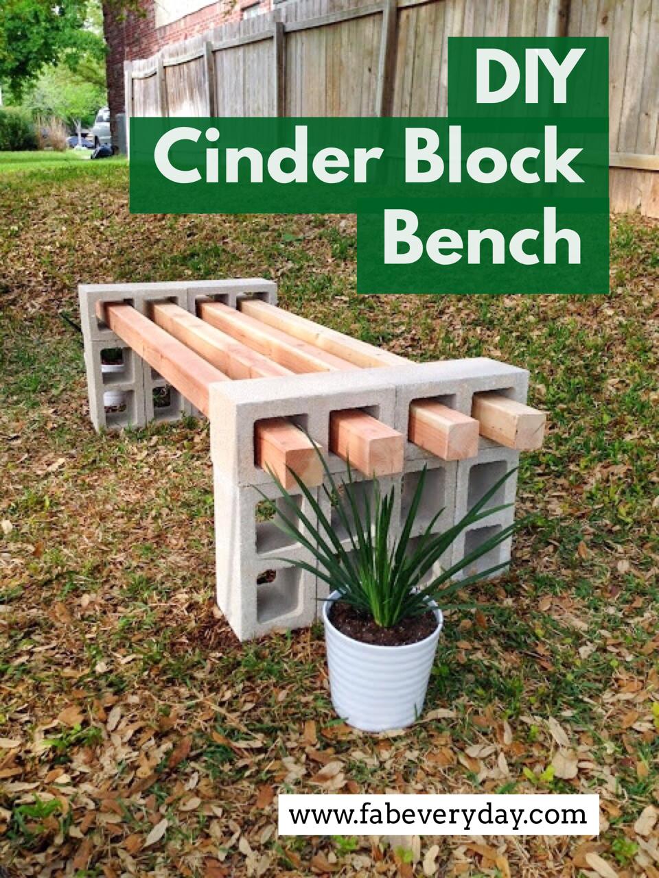 Diy Cinder Block Bench Fab Everyday