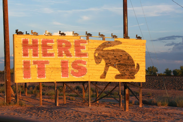 """things to see on route 66: jackrabbit trading post """"here it is"""" sign"""