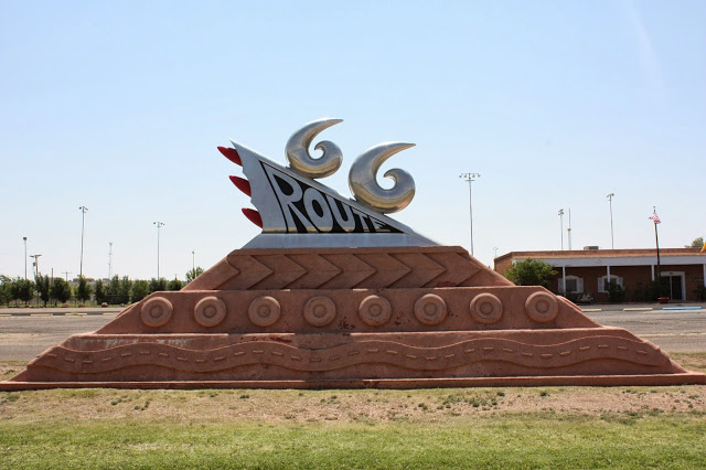 Route 66 roadside attractions: Route 66 monument sign in Tucumcari, New Mexico