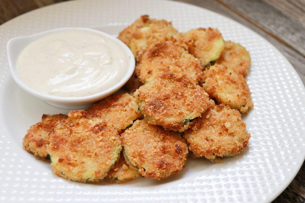 Lighter zucchini appetizer idea: Air Fryer Ranch Zucchini Chips recipe