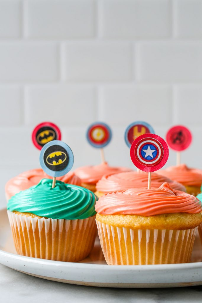 easy DIY cupcake toppers made with paper punch