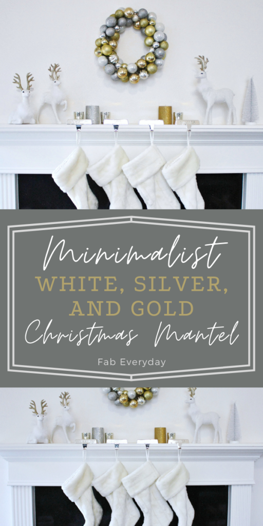 Minimalist White, Silver, and Gold Christmas Mantel