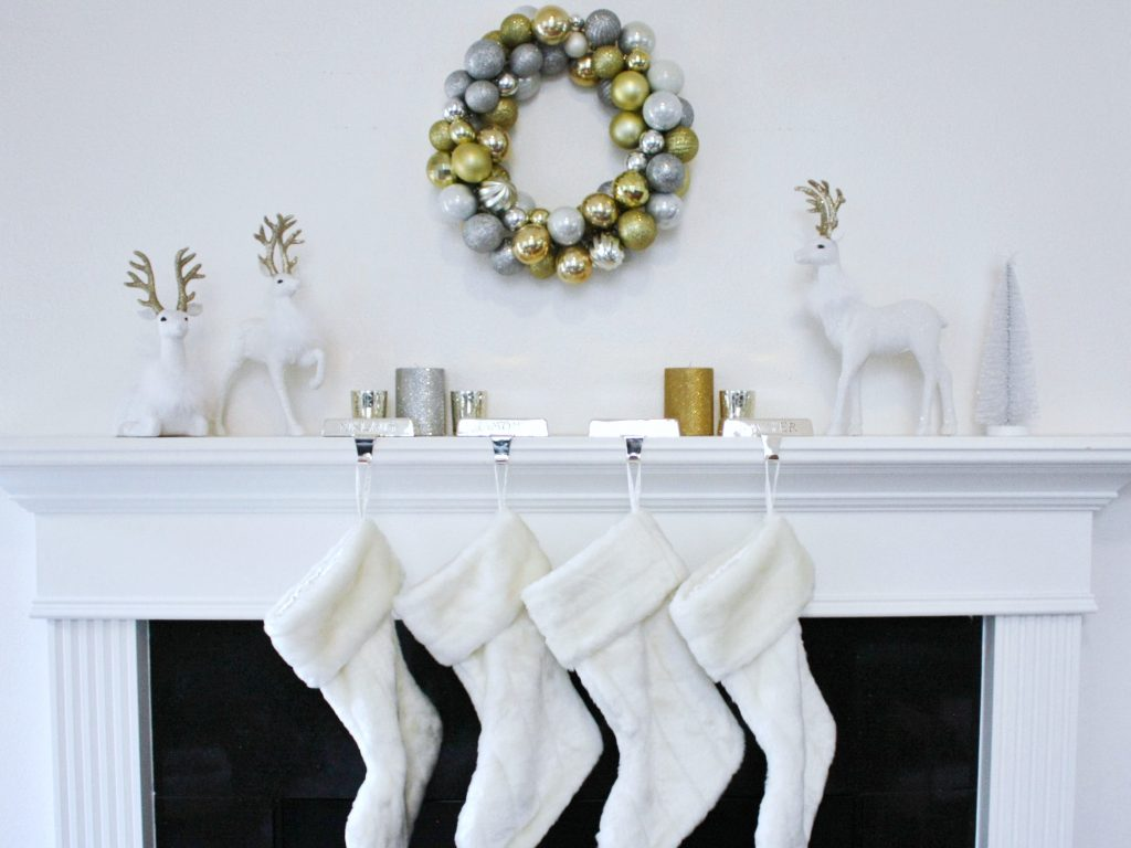 white silver gold christmas mantel with a DIY silver and gold Christmas wreath