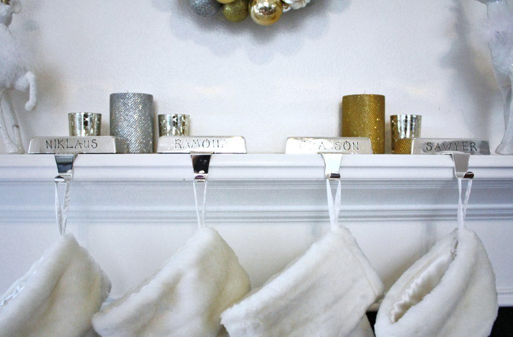 white silver gold christmas mantel