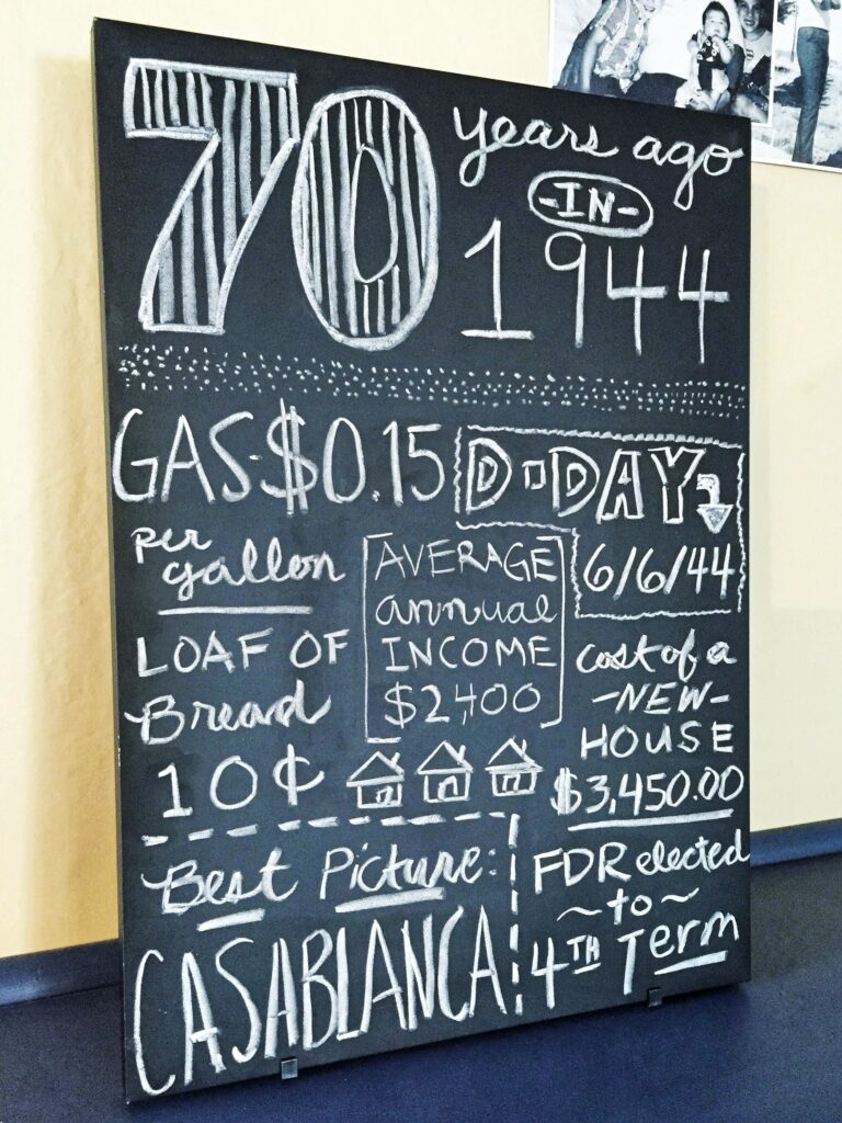 70th birthday ideas: Chalkboard sign