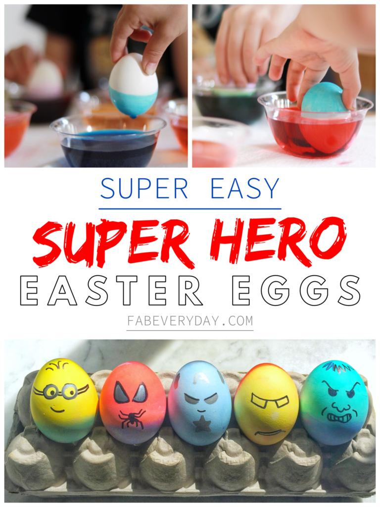 Super Easy Superhero Easter Eggs (easy Easter idea for toddlers)