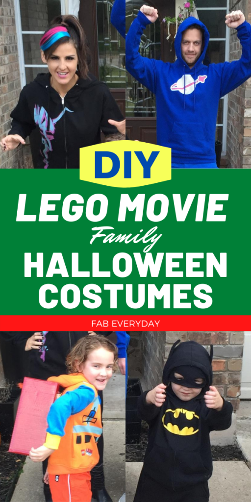 Super Easy DIY LEGO Movie Costumes for the Whole Family (Wyldstyle, Benny, Emmet, Batman)