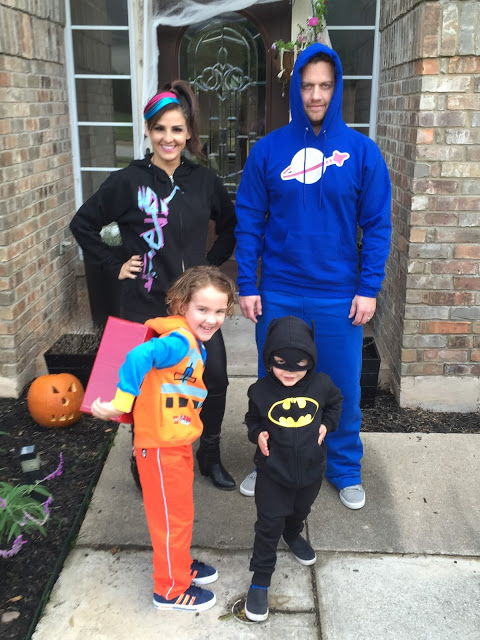 Easy family LEGO Movie character Halloween costumes (a DIY Emmet costume, a LEGO Batman toddler costume, a Wyldstyle costume, and a Benny LEGO Movie costume)