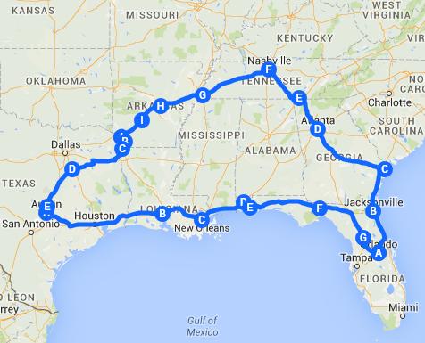 southern usa road trip