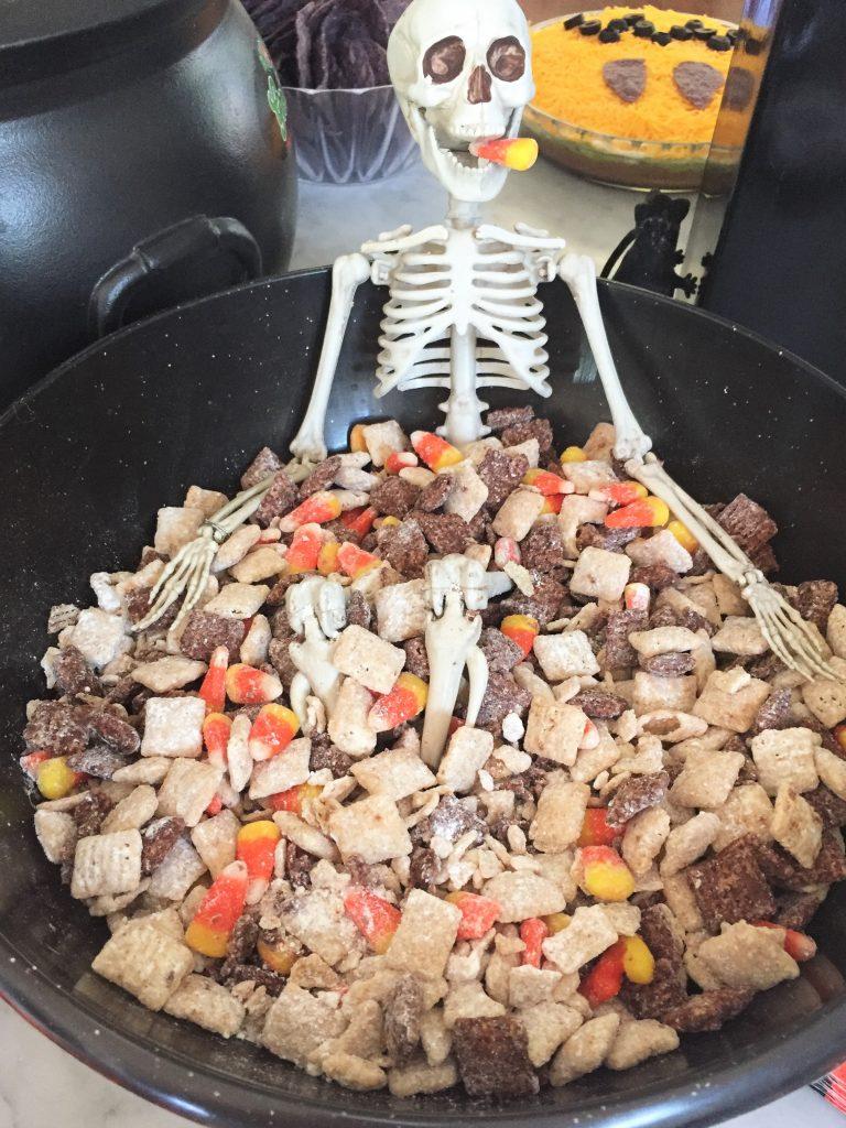 kid friendly halloween party treats - halloween puppy chow