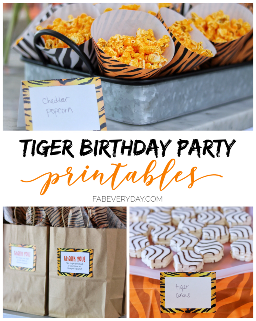 Tiger birthday party printables