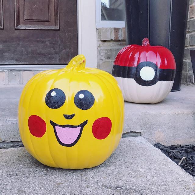 Easy DIY Pikachu and Pokeball Pumpkins