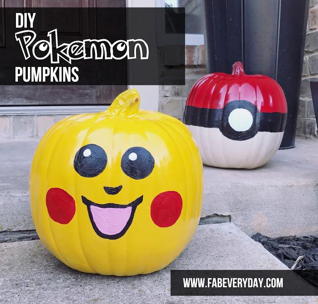Easy DIY Pikachu and Pokeball Pumpkins for Halloween