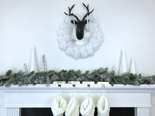 Black, white and silver contemporary Christmas mantel