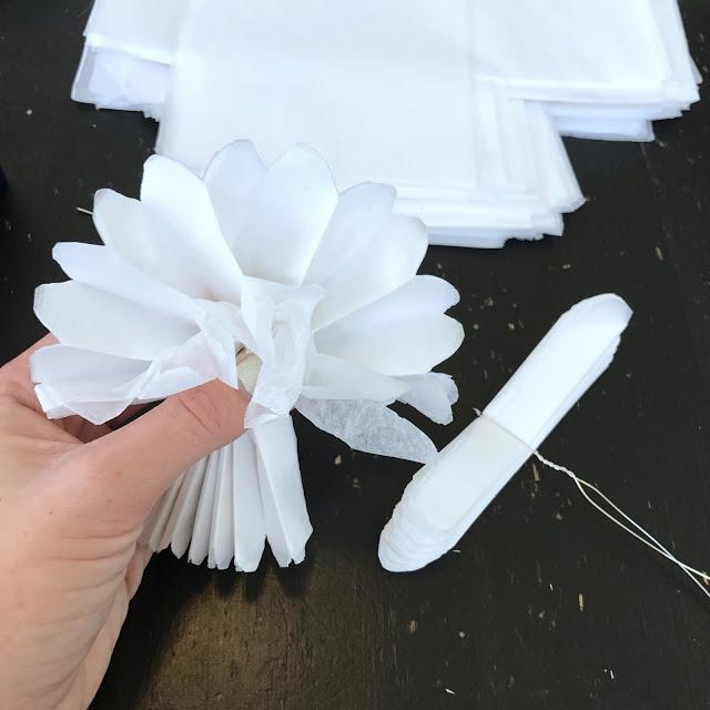 tissue paper flower wreath instructions