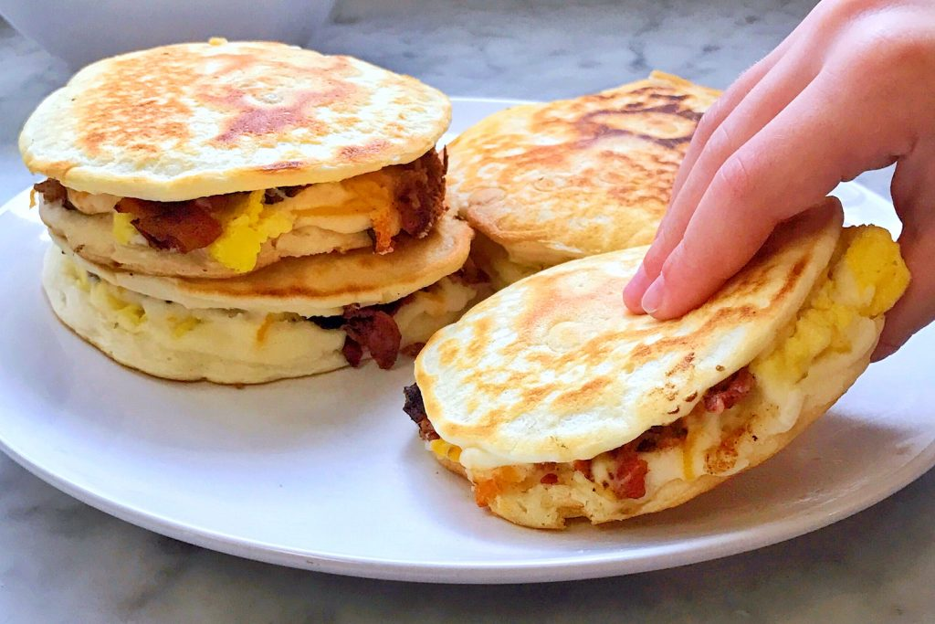 grab and go breakfast sandwich: bacon egg and cheese pancake sandwich