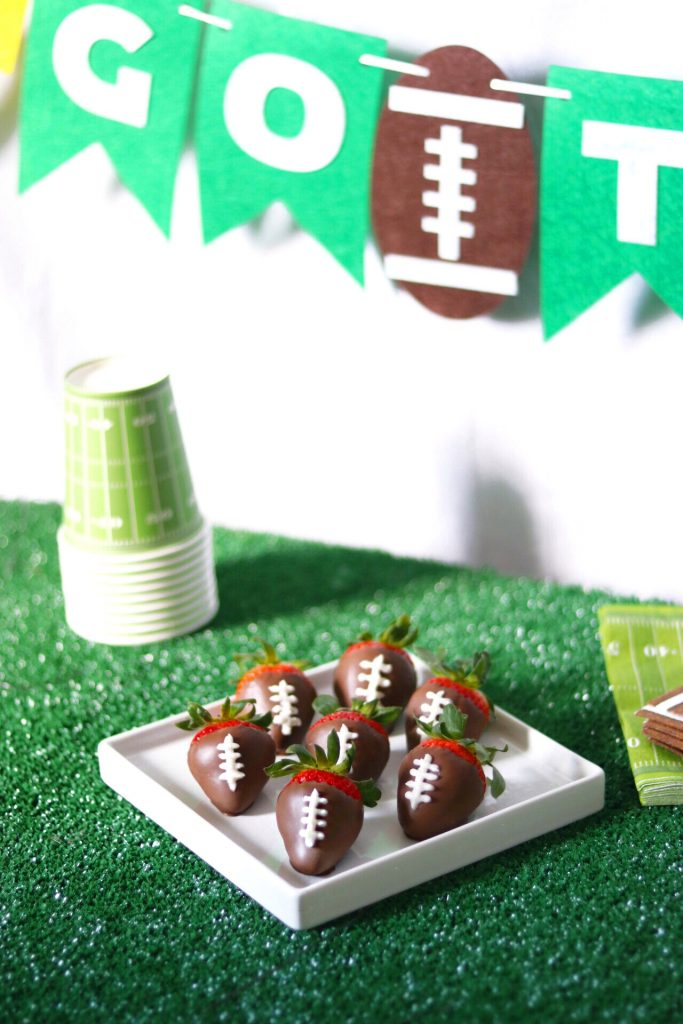 chocolate covered strawberry footballs - easy football party food idea