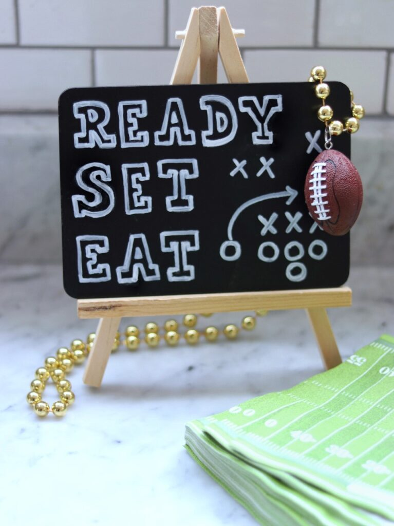 football party decorations: ready set eat food sign