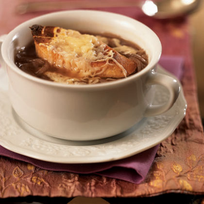 Onion Soup with Cheese Crostini for a romantic valentines dinner at home