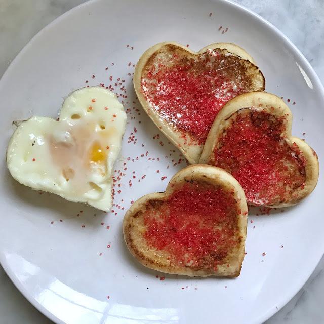 heart shaped eggs and DIY heart shaped pancakes - valentine's day breakfast idea